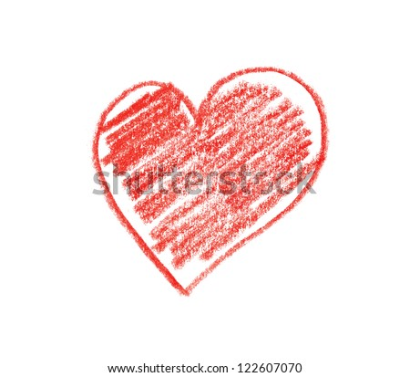 Hand drawn, crayon heart shape isolated on white background - stock photo