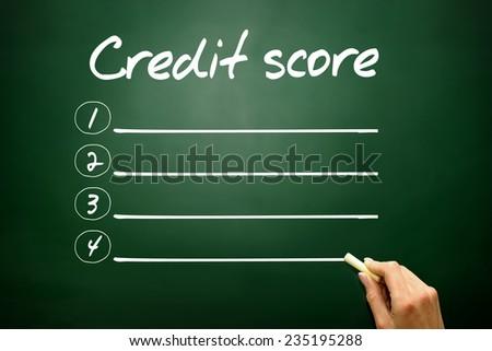 Hand drawn Credit score blank list concept on blackboard - stock photo