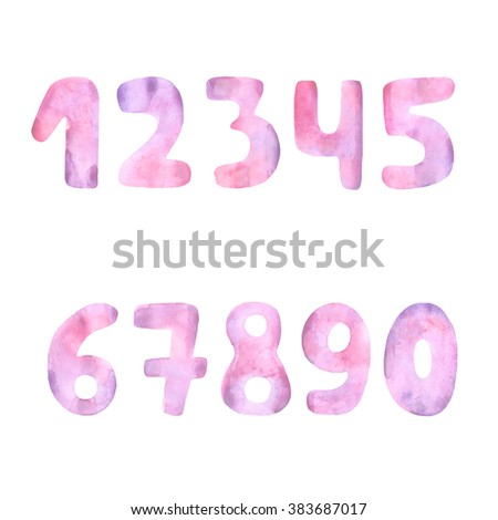 Hand drawn cute mathematics numbers collection made in watercolor technique