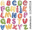 Hand-drawn 3D ABC. Outline. - stock photo