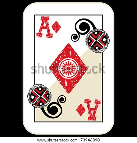 hand drawn deck of cards, doodle ace of diamonds - stock photo
