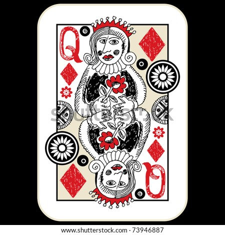 hand drawn deck of cards, doodle queen of diamonds - stock photo