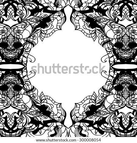 Hand drawn decorative design elements, frames maps, linear, raster copy of illustration - stock photo