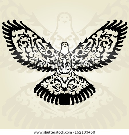 hand drawn decorative dove, design element