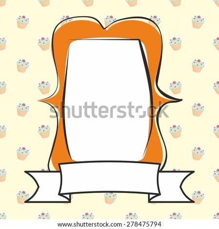 Hand drawn decorative orange photo frame on sweet cake background - stock photo