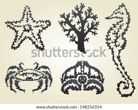 hand drawn decorative sea animals, design elements - stock photo