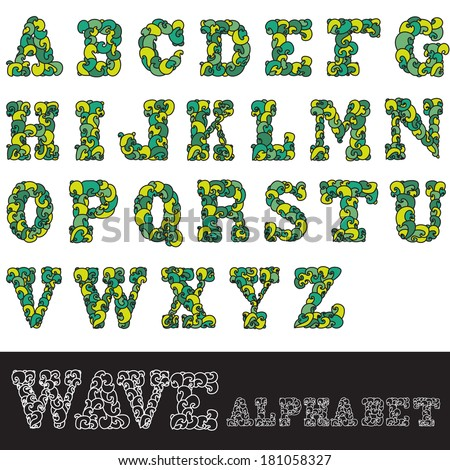 hand drawn decorative wave alphabet letters, design elements