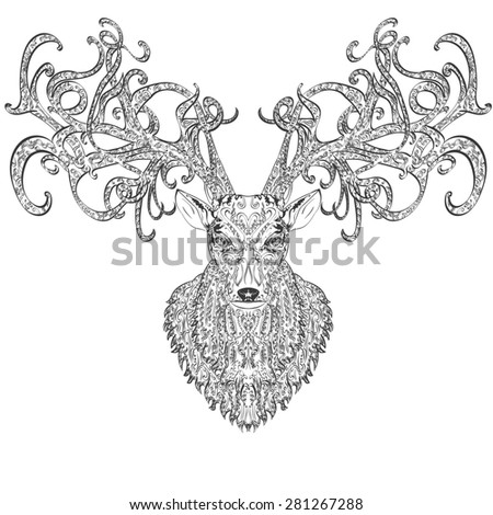 Hand drawn deer covered with vintage ornament - stock photo