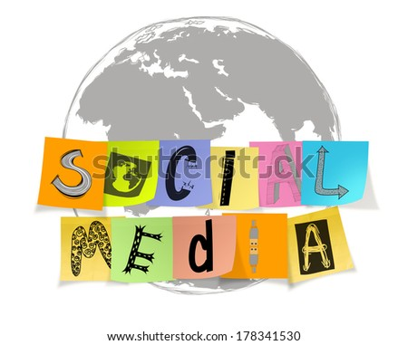 hand drawn design word social media words on sticky note on world map background - stock photo