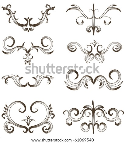 Hand drawn detailed ornament collection - stock photo