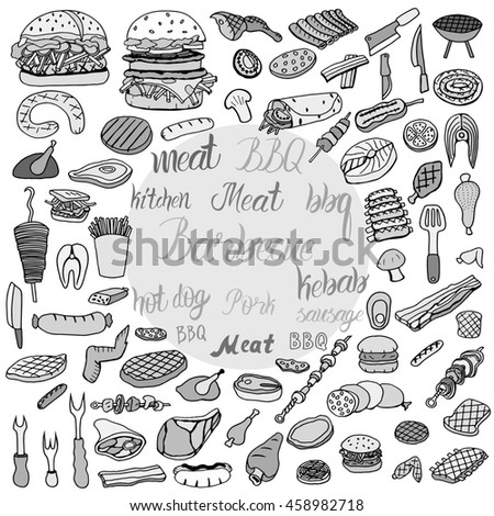 Hand drawn doodle BBQ party icons set. Art illustration summer barbecue symbols collection Cartoon various meals, drinks, food ingredients and decoration elements on white background Sketch