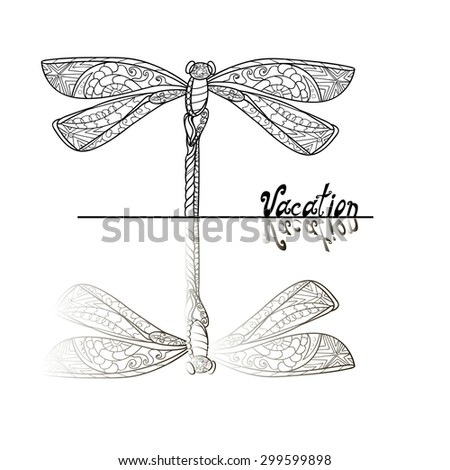 Hand drawn Doodle Dragonfly with reflection, black and white linear style, raster copy of illustration - stock photo