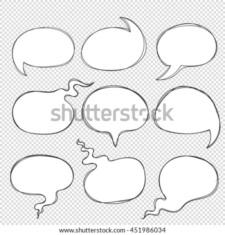 Hand drawn doodle frame bubbles from lines to think, speech, dialogue, phrases, words, interview, conversation, discussion. Round circles with rounded form for idea, text, letters, idea for comics