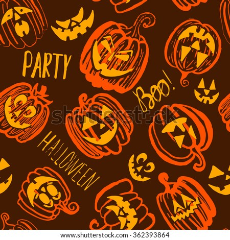 Hand drawn doodle Halloween pumpkin seamless pattern. Brown, orange and yellow bright cartoon seamless texture. Can be used for invitation, fabric, paper printing, web background. Raster version - stock photo