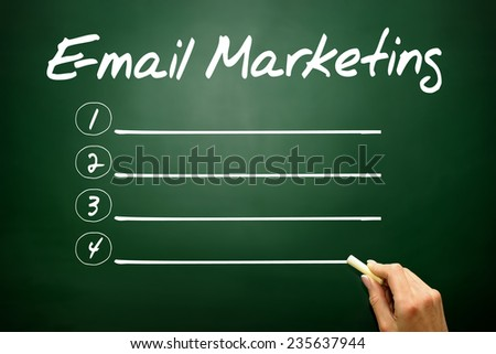Hand drawn E-mail Marketing blank list, business concept on blackboard - stock photo
