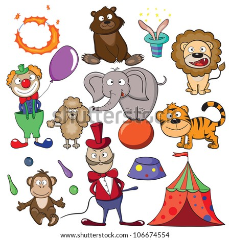 """Hand-drawn elements for your design on a theme """"circus"""". Raster version. - stock photo"""