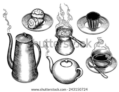 "Hand drawn engraving "" Tea,coffee and cakes "". rasterized JPEG - stock photo"