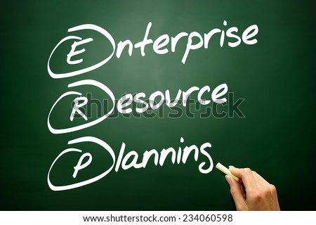 Hand drawn Enterprise resource planning (ERP) business concept on blackboard - stock photo