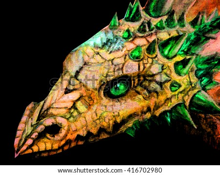 hand drawn face of the dragon with glowing eyes, watercolor