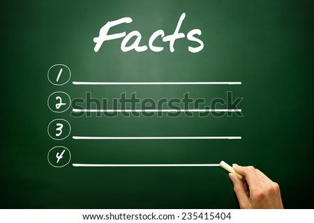Hand drawn FACTS blank list, business concept on blackboard - stock photo