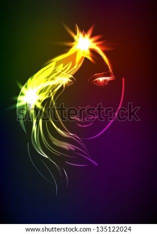 Hand-drawn fashion model from a neon. A light girl's - stock photo