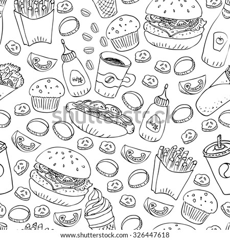 Hand drawn fast food doodle seamless pattern. Black and white ink illustration. Hot dog, burger, fries, roll, soda, coffee and cupcake for menu and web design and package. - stock photo