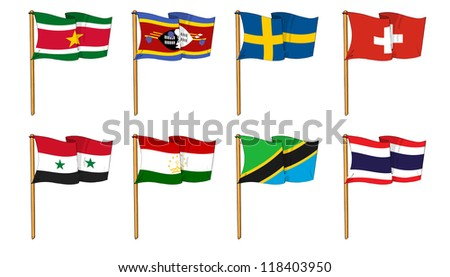 Hand-drawn Flags of the World - letter S & T - stock photo
