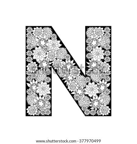 Hand Drawn Floral Alphabet Design Letter N Raster Version
