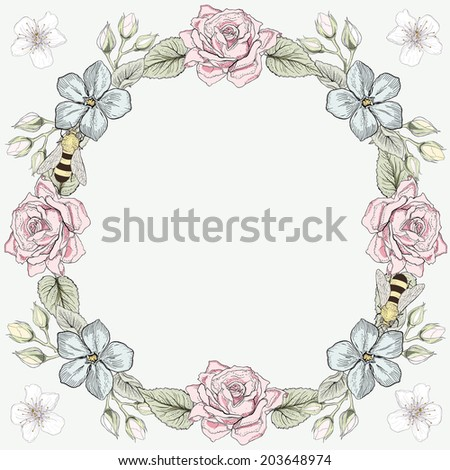 Hand drawn floral frame and honey bees greeting card. Colorful illustration. Vintage engraving style. Raster copy - stock photo