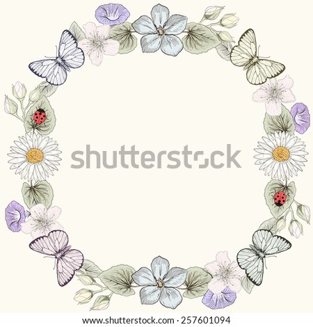 Hand drawn floral frame card with butterflies and wildflowers. Colorful illustration. Vintage engraving style - stock photo