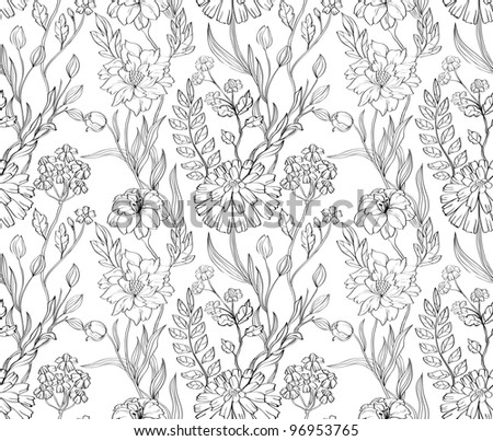 Hand drawn floral wallpaper with set of different flowers. Could be used as seamless wallpaper, textile, wrapping paper or background - stock photo