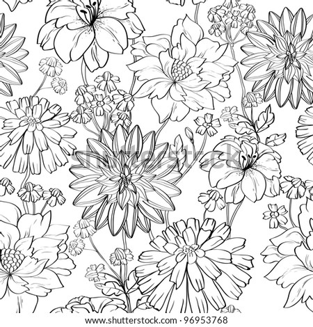 Hand drawn floral wallpaper with set of different flowers. Could be used as seamless wallpaper, textile, wrapping paper or background