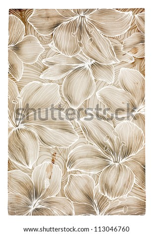 Hand drawn  flowers on grunge paper background - stock photo