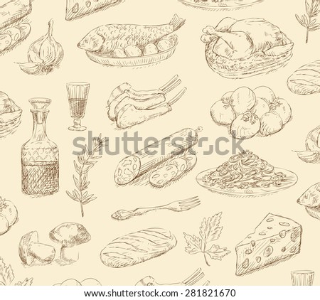 hand drawn food set  - stock photo