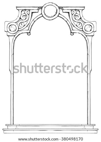 Hand drawn frame in form of the stone decorated arch - stock photo