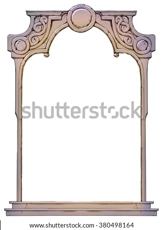 Hand drawn frame in form of the stone decorated arch isolated on white