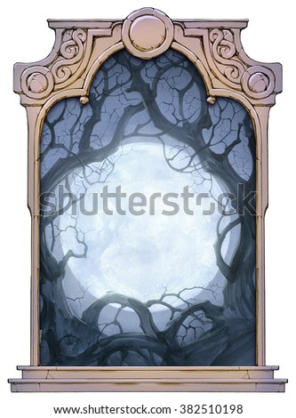 hand drawn framed illustration of moon background with crooked trees - stock photo