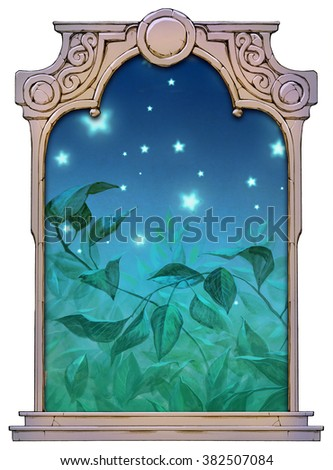 hand drawn framed illustration of nature background with leaves and stars - stock photo
