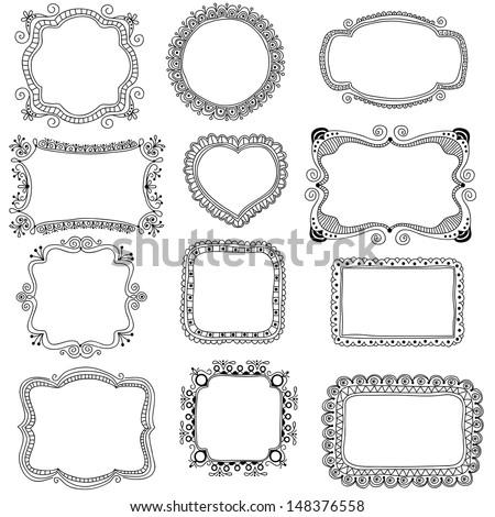 Hand-Drawn frames - stock photo