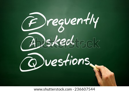 Hand drawn Frequently Asked Questions (FAQ) acronym, business concept on blackboard - stock photo