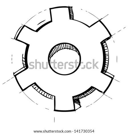 Hand drawn gear - stock photo