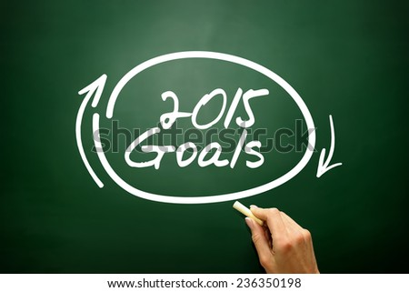 Hand drawn 2015 Goals, business concept on blackboard - stock photo