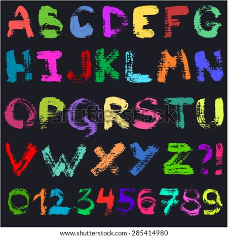 Hand drawn gouache alphabet. Handwritten multicolor colorful font isolated on black background. Contains uppercase letters, numbers and question and exclamation marks. Real paint texture.