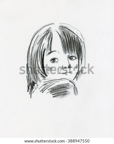 Hand drawn graphic illustration, pencil drawing. Portrait with an imaginary cute girl. Pretty smiley kid's face.