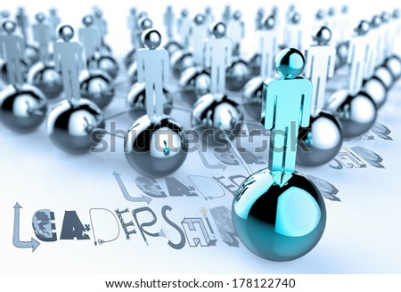 hand drawn graphic word LEADERSHIP and 3d human link sign as concept - stock photo