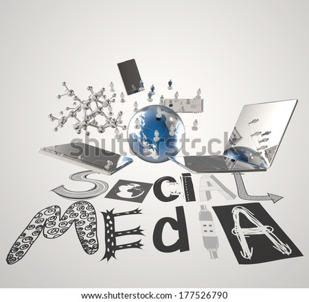 hand drawn graphic word SOCIAL MEDIA and 3d all new technology world  as concept - stock photo