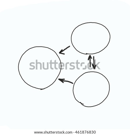Hand drawn graphics or diagram symbols to input information concept for business (Management system) on white background.
