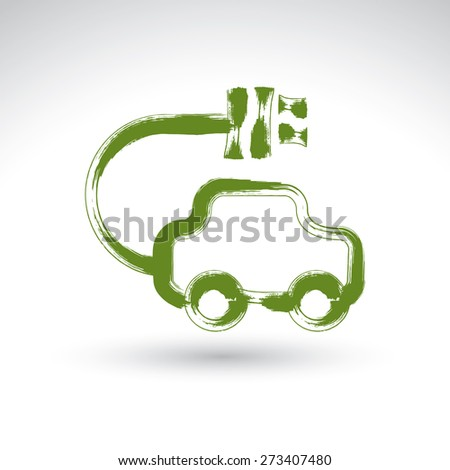 Hand drawn green eco car icon, illustrated brush drawing electric powered car, hand-painted ecology automobile isolated on white background. - stock photo