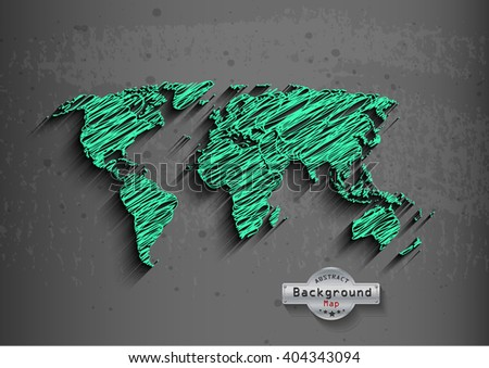 hand drawn green world map on grey background.