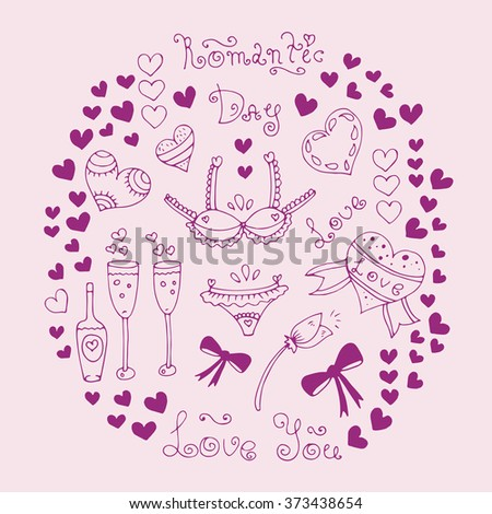 Hand-drawn greeting card with Valentine's Day symbols. Set  with original hand drawn phrase romantic day, love, love you, ornament and heart. On a pink background - stock photo